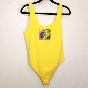 Retro 80s Snap Bodysuit Neon Rainbow Graphic